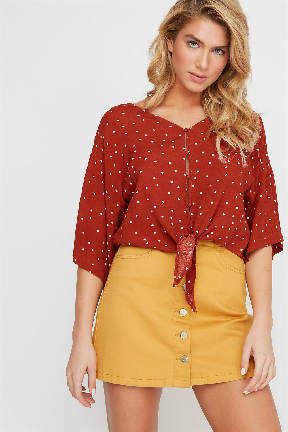 Printed V-Neck Button-Up Front Tie Blouse Rust