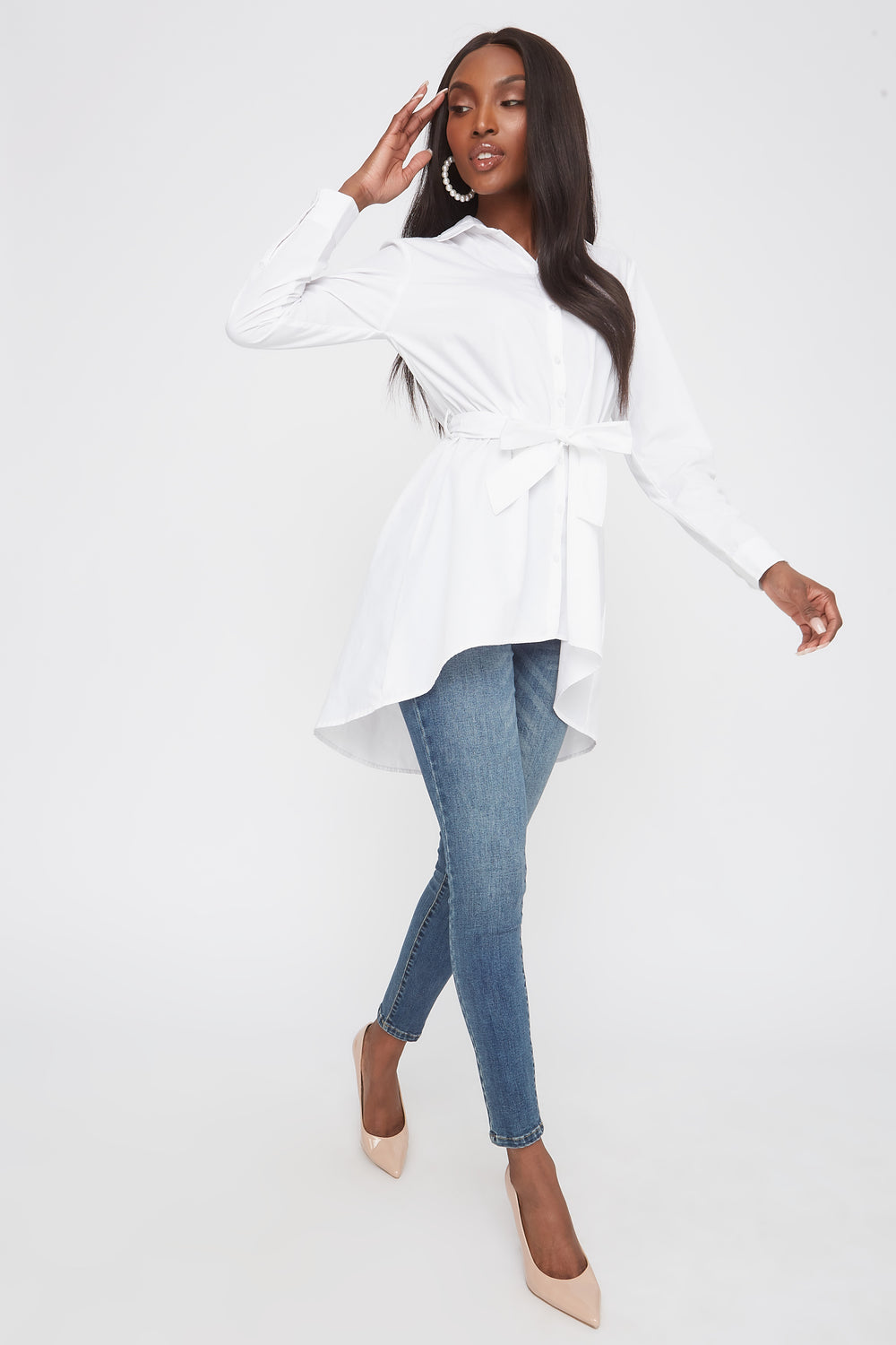 Button-Up Long Sleeve Self Tie Tunic Top White