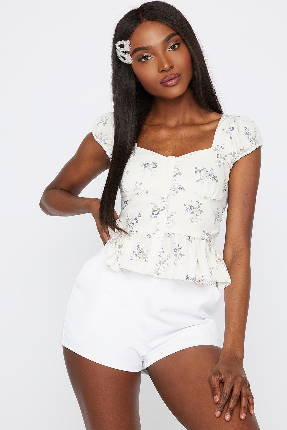 Floral Button-Up Peplum Blouse Ivory