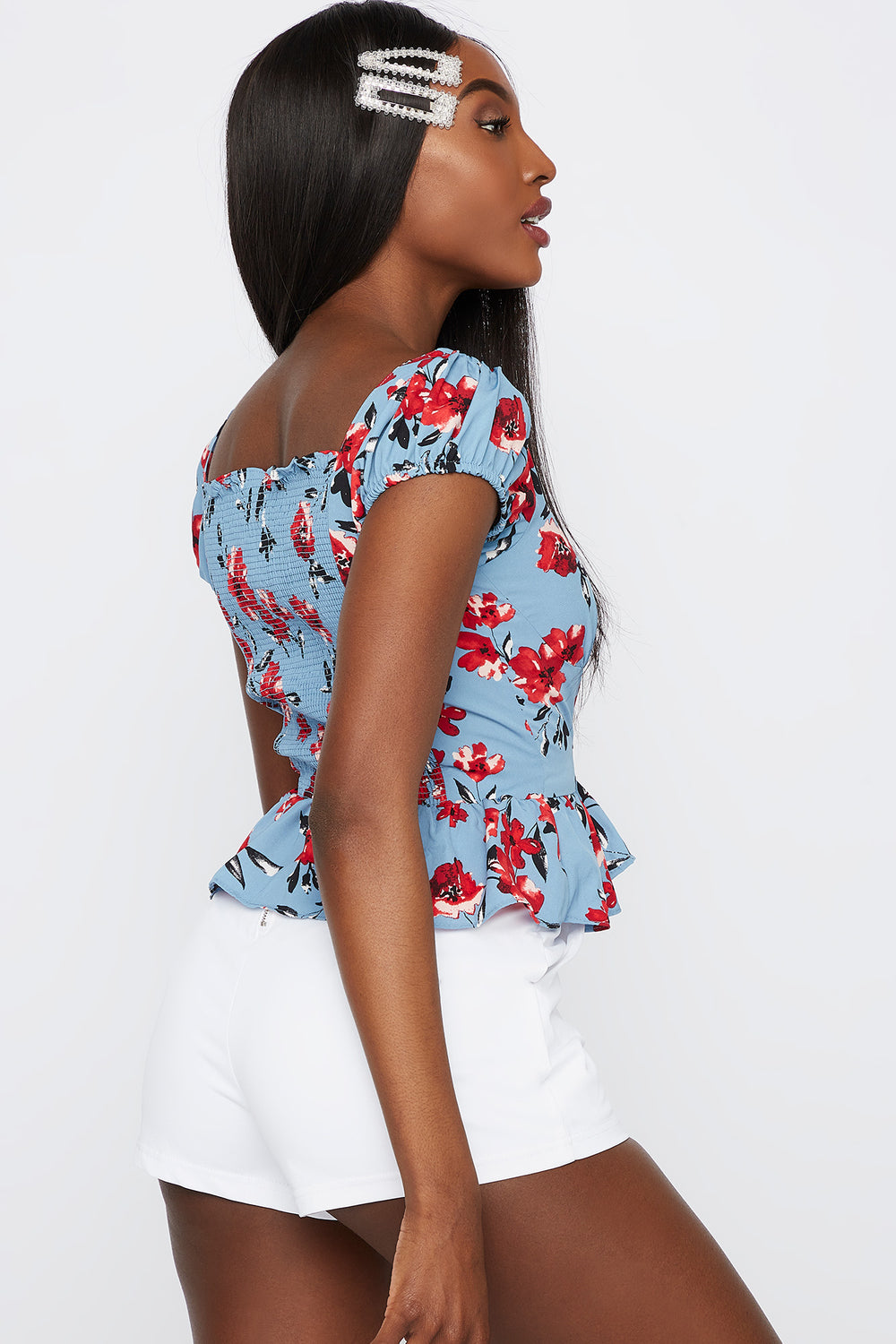 Floral Button-Up Peplum Blouse Blue