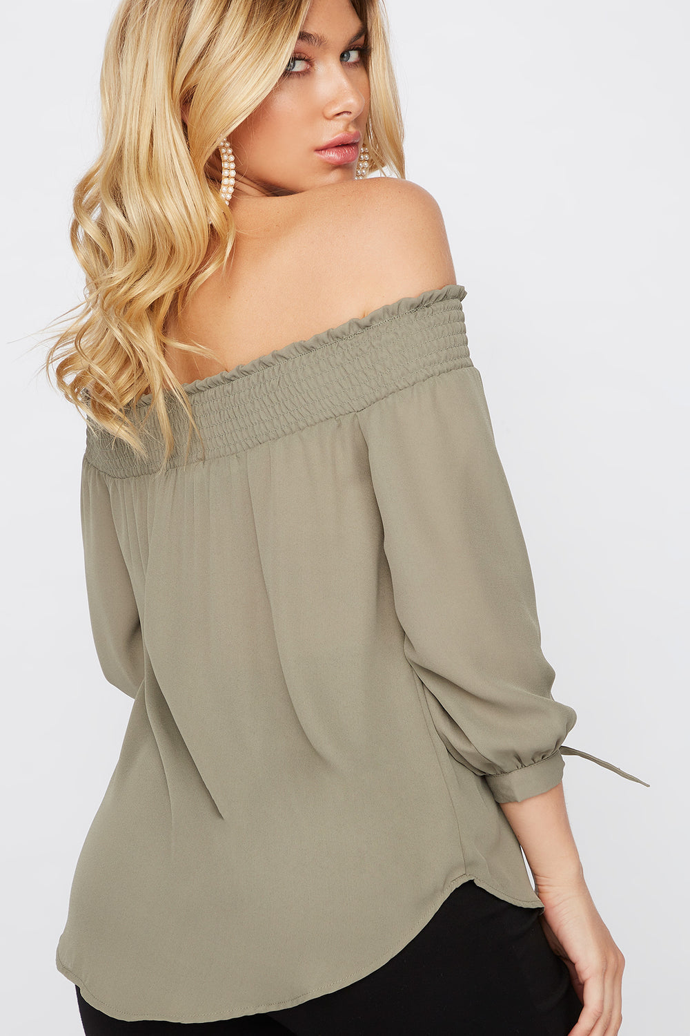 Smocked Off The Shoulder Tie Sleeve Blouse Dark Green