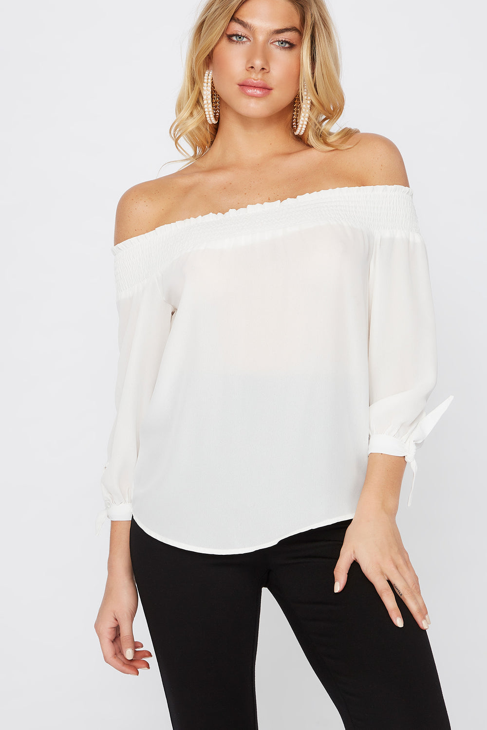 Smocked Off The Shoulder Tie Sleeve Blouse Ivory