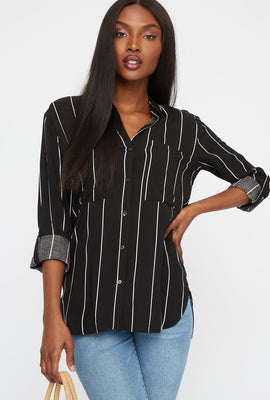 Button-Up Roll-Tab Long Sleeve Pocket Shirt