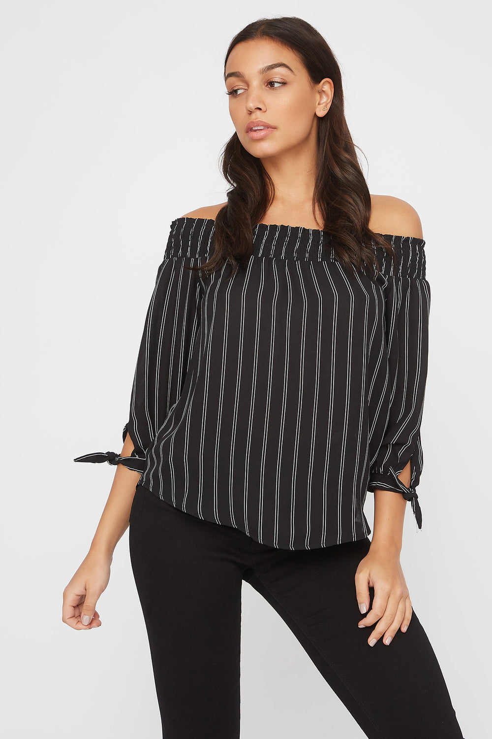 Striped Off The Shoulder Tie Sleeve Blouse Black with White