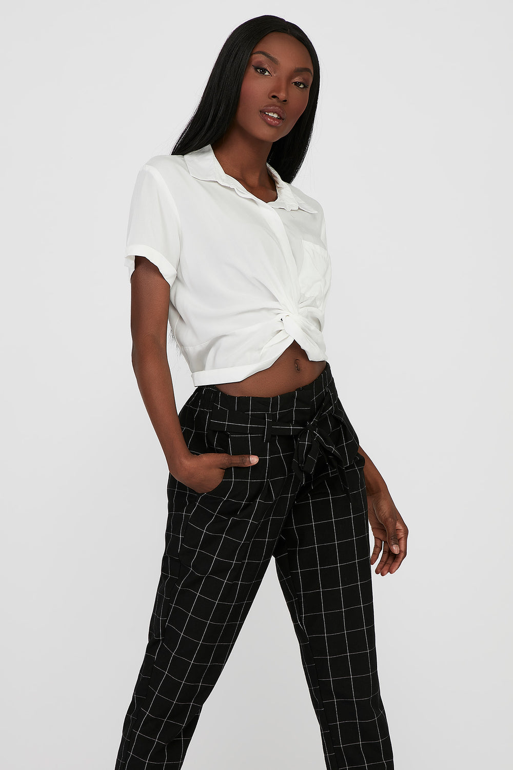 Front Twist Button-Up Cropped Short Sleeve Shirt White