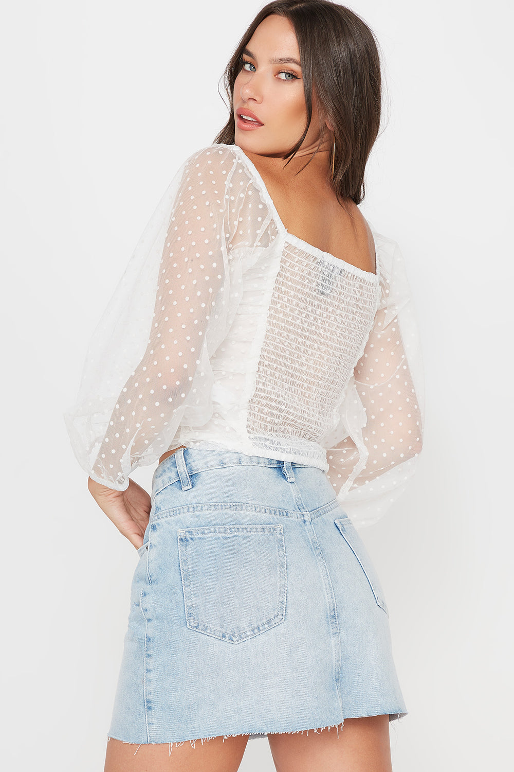 Dotted Ruched Mesh Long Sleeve Blouse Off White