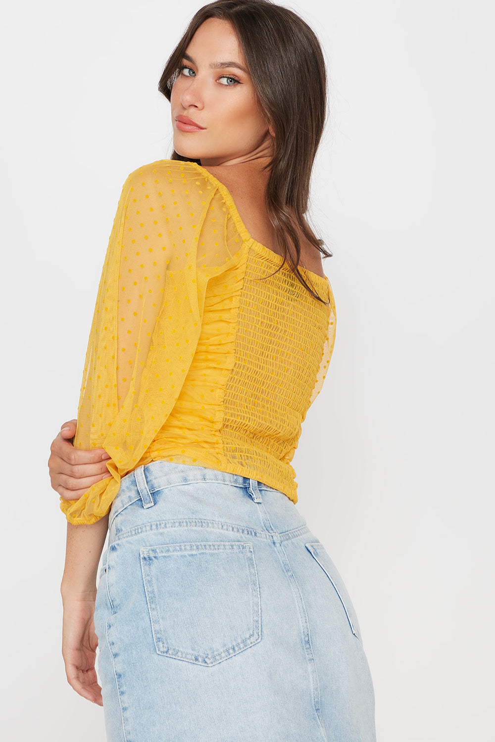 Dotted Ruched Mesh Long Sleeve Blouse Mustard