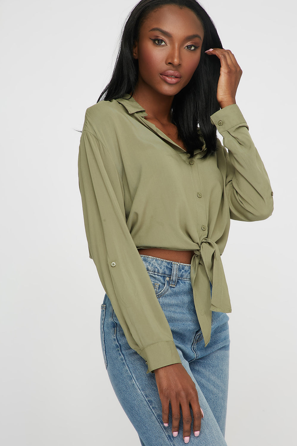 Front-Tie Button Up Long Sleeve Dark Green