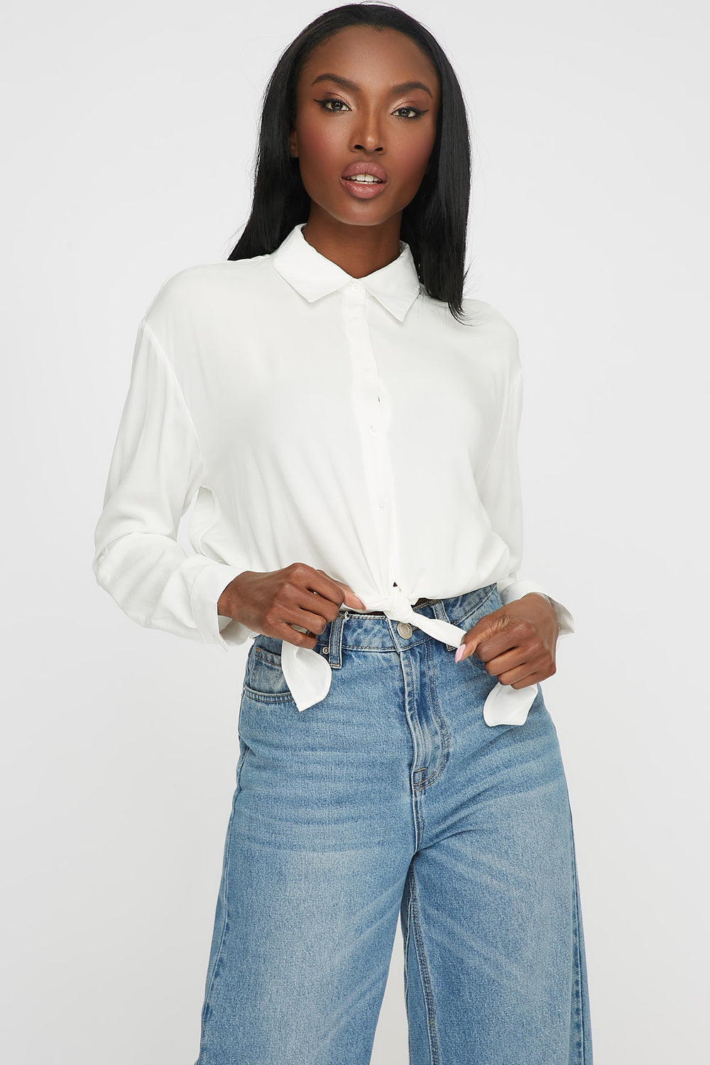 Front-Tie Button Up Long Sleeve Ivory