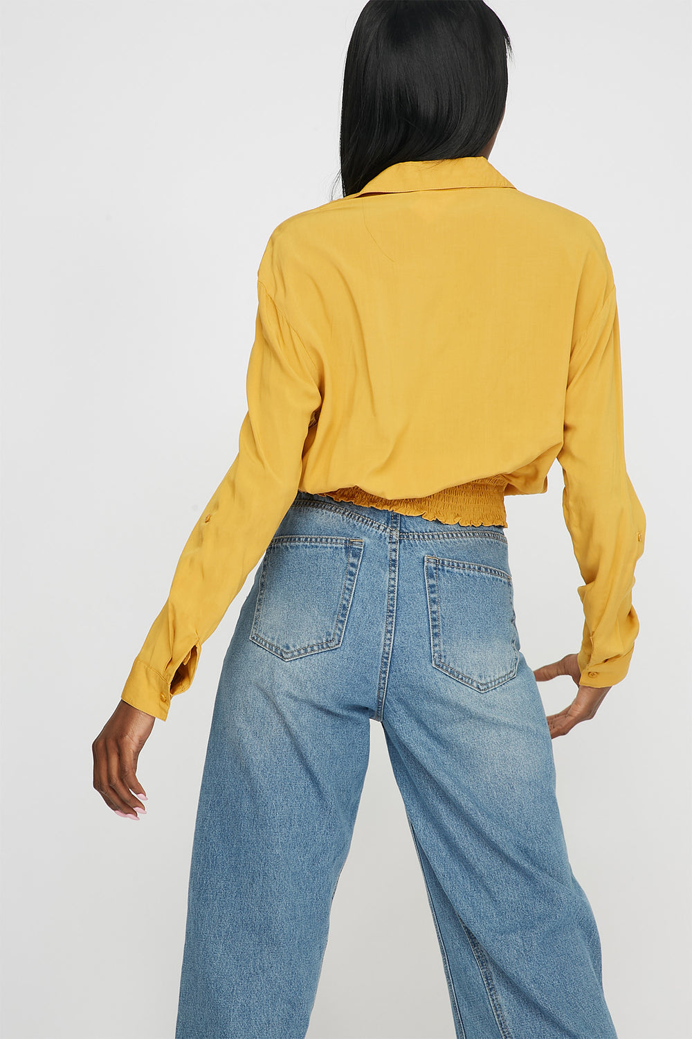 Front-Tie Button Up Long Sleeve Mustard