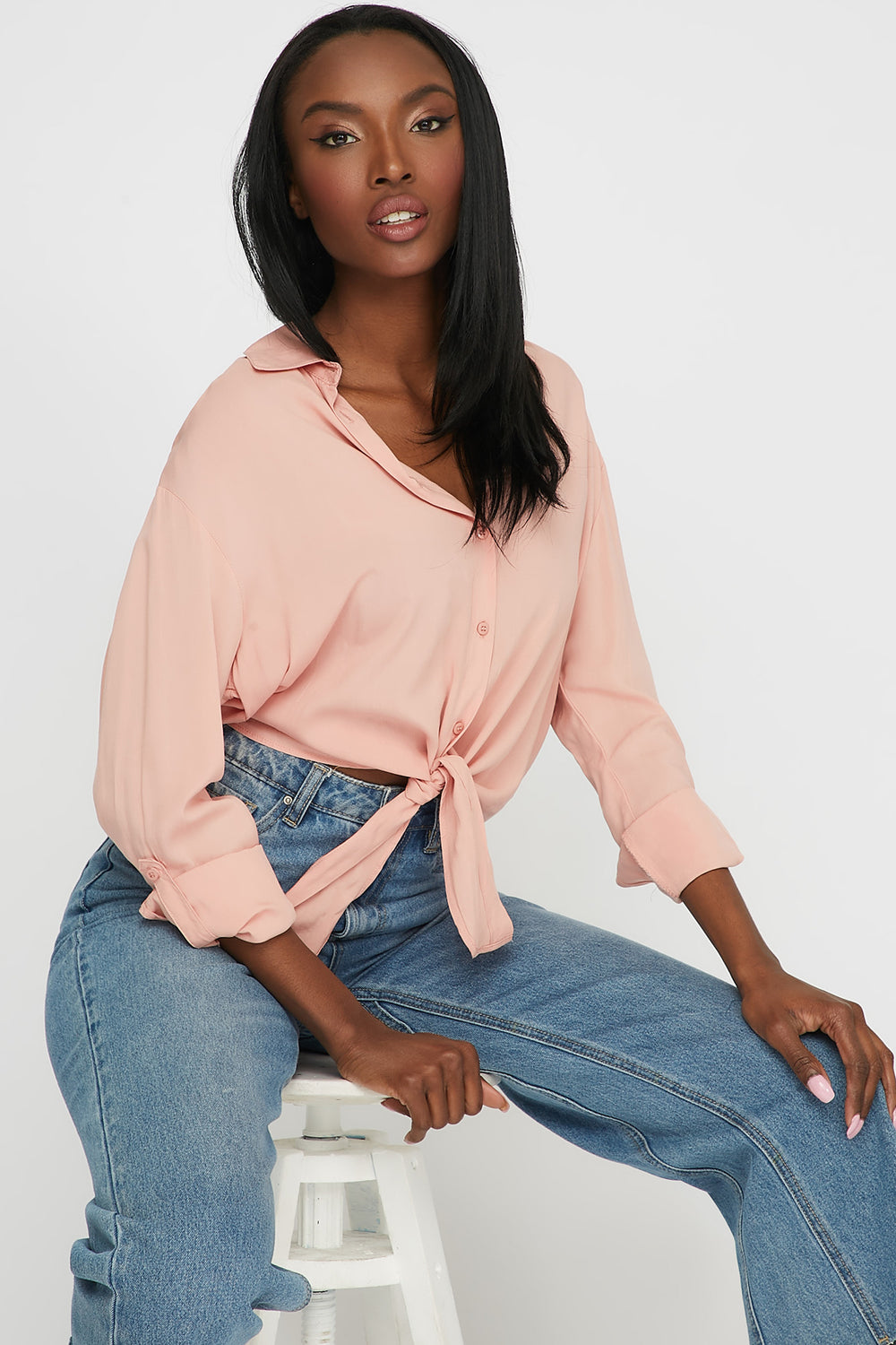 Front-Tie Button Up Long Sleeve Light Pink