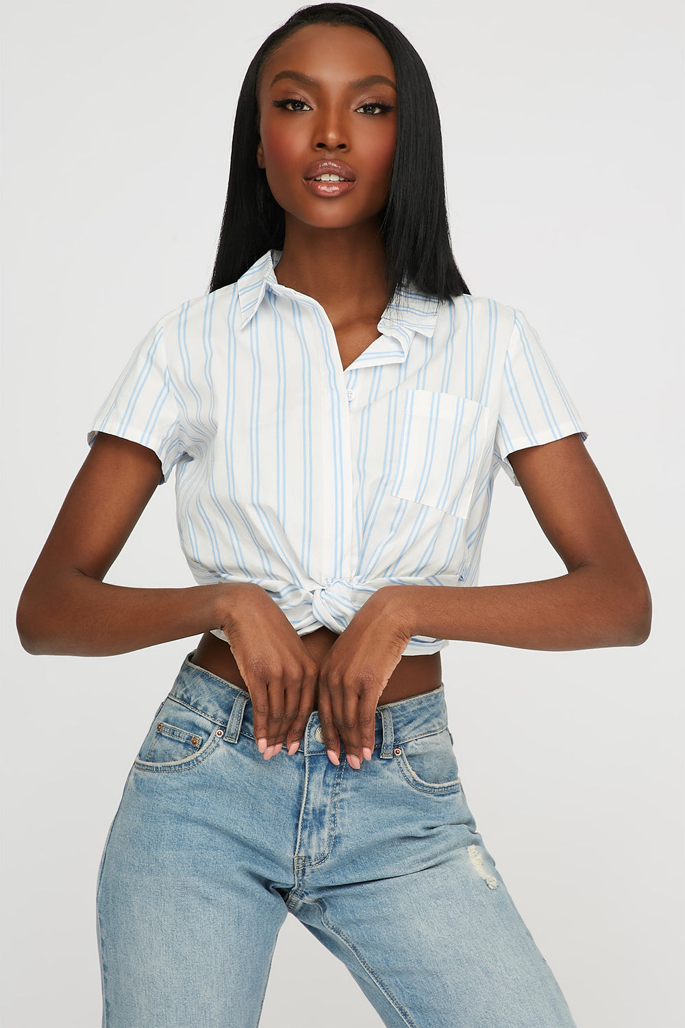 Striped Front Twist Button-Up Cropped T-Shirt Blue