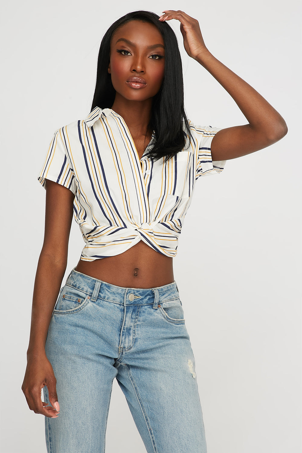 Striped Front Twist Button-Up Cropped T-Shirt Mustard