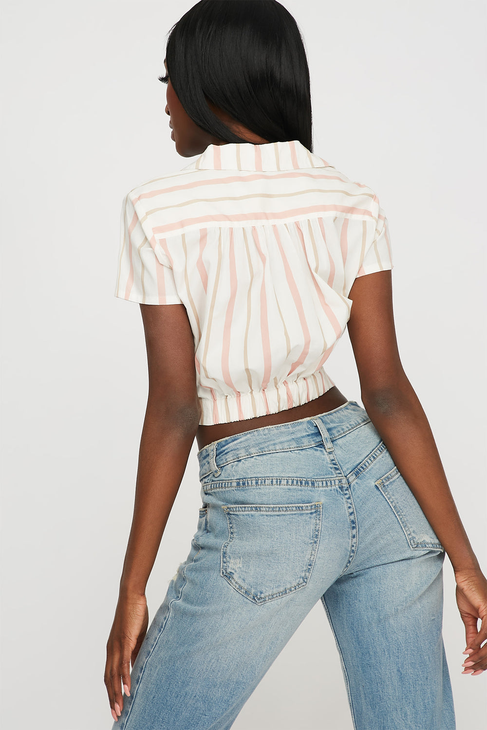 Striped Front Twist Button-Up Cropped T-Shirt Light Pink