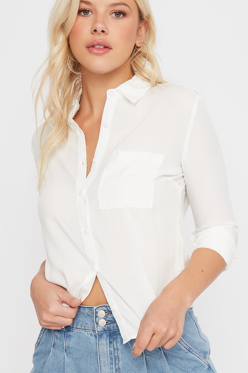 Classic Button-Up Long Sleeve Shirt Ivory