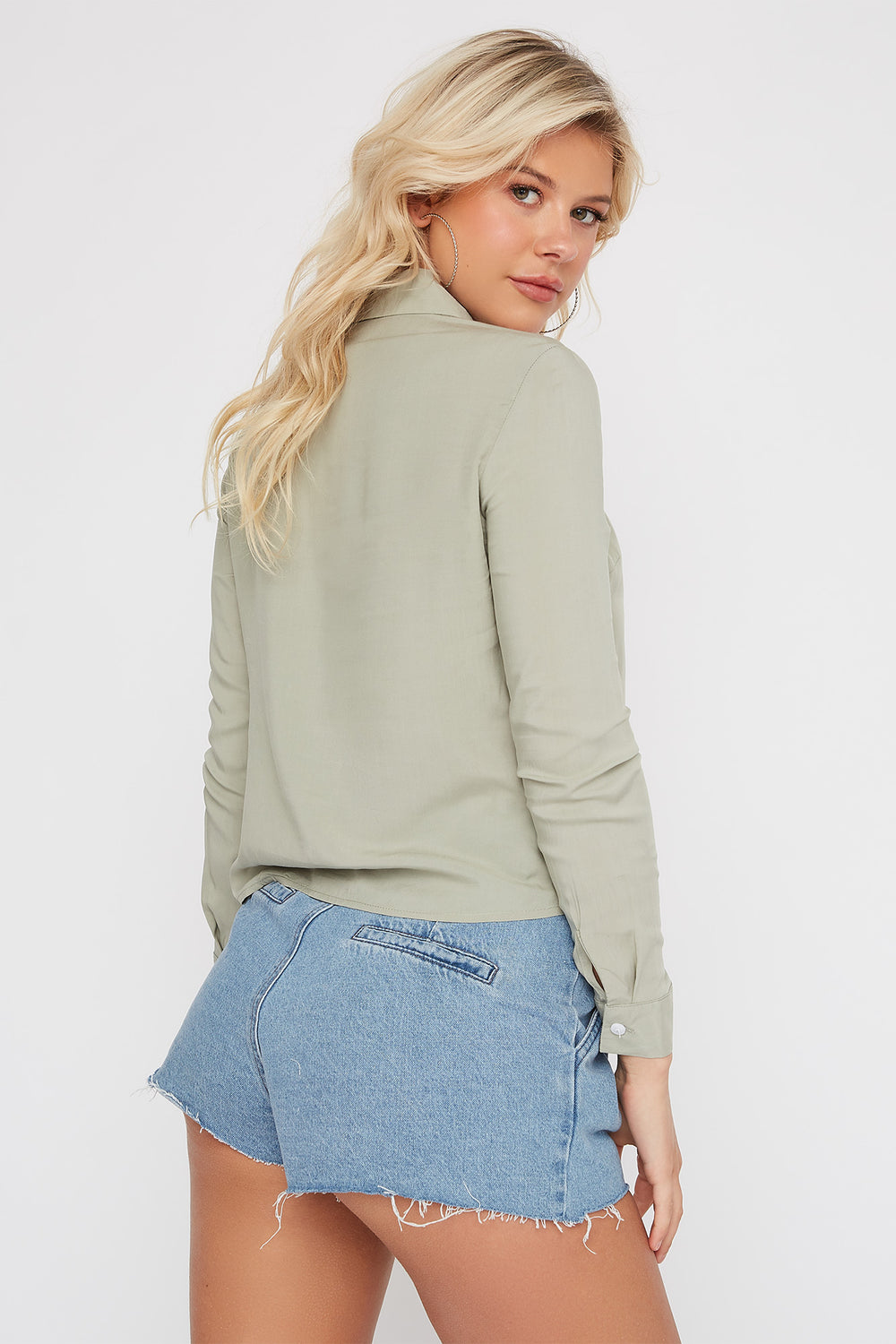 Classic Button-Up Long Sleeve Shirt Sage