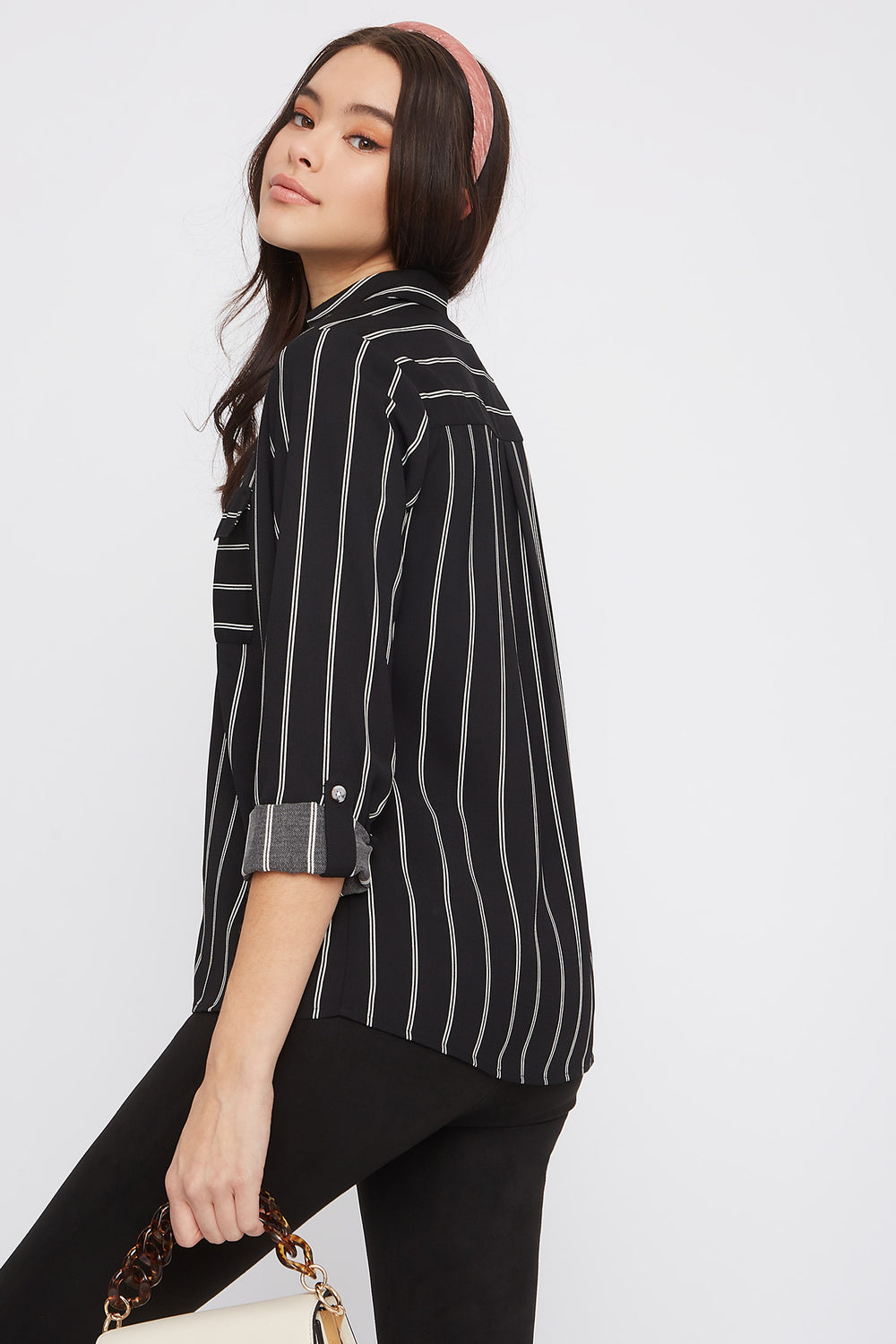 Hammered Printed Roll-Tab Button-Up Blouse Black with White