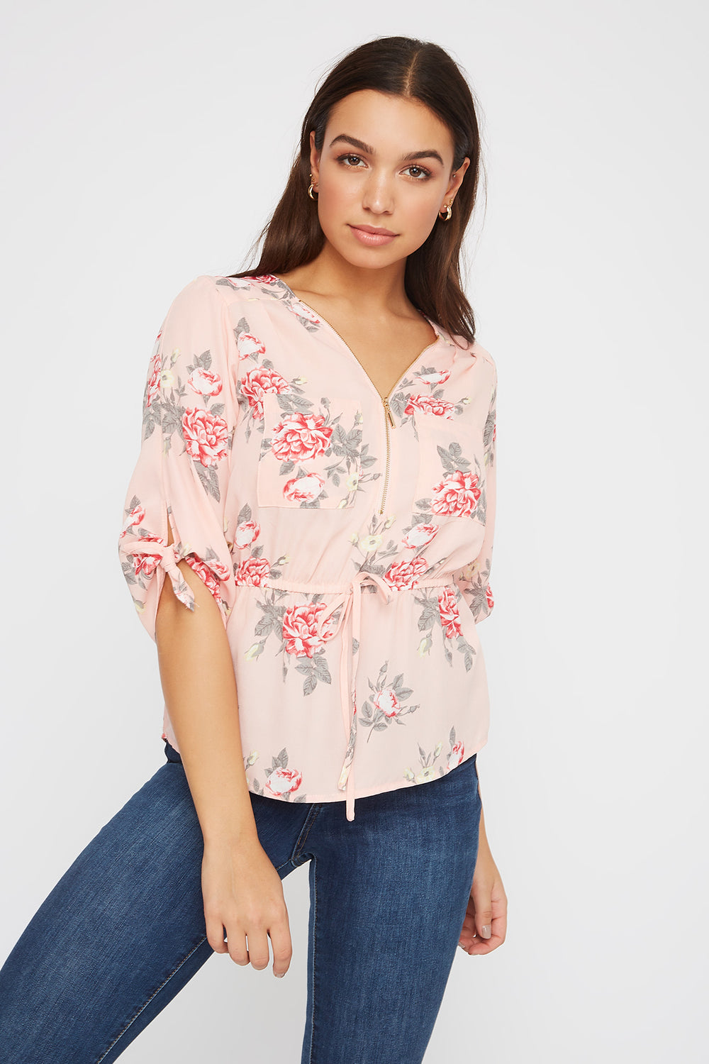 Printed Half-Zip Blouse Light Pink