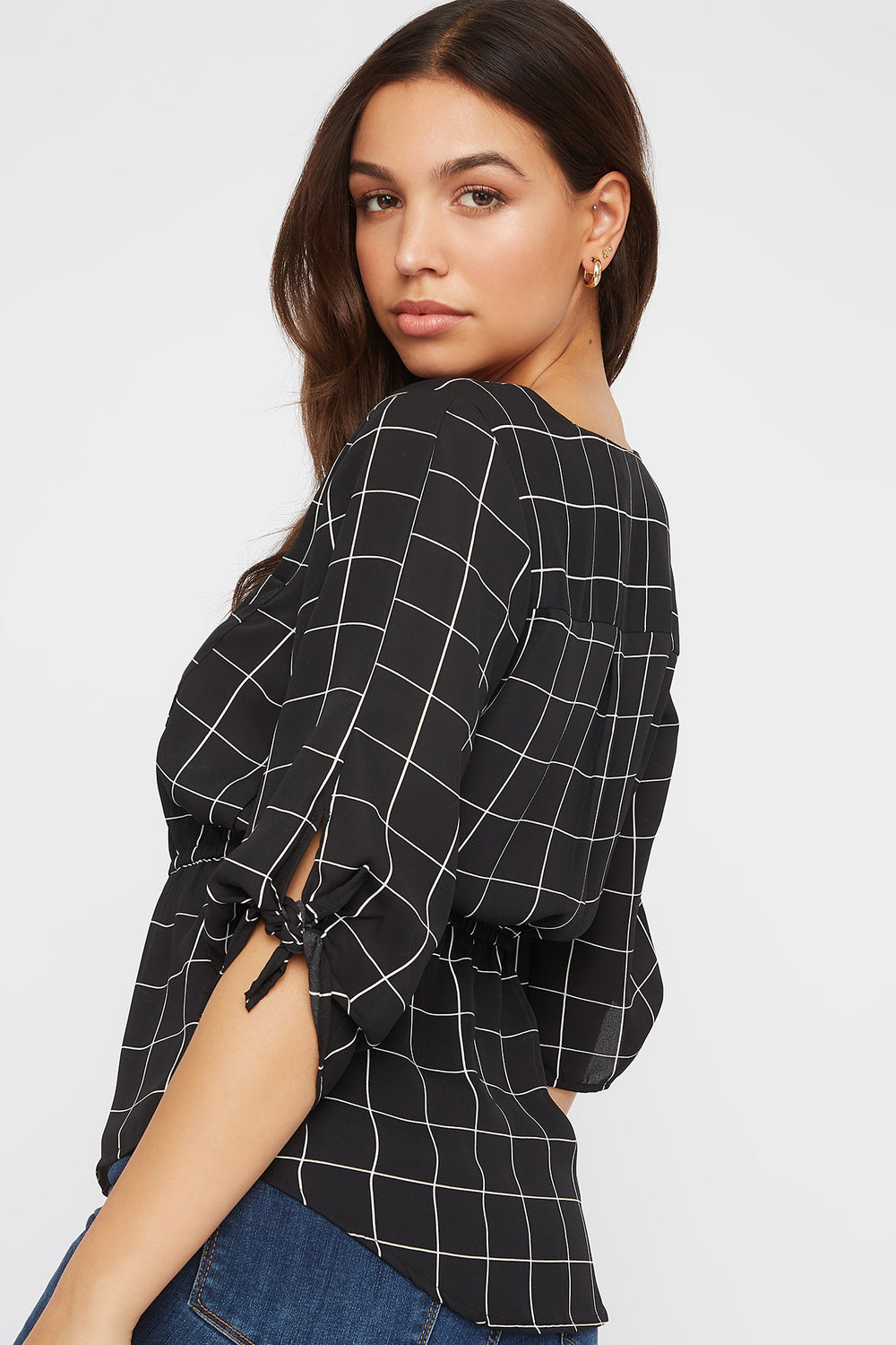 Printed Half-Zip Blouse Black with White