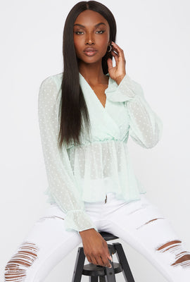 Sheer Dotted Surplice Long Sleeve Peplum Blouse