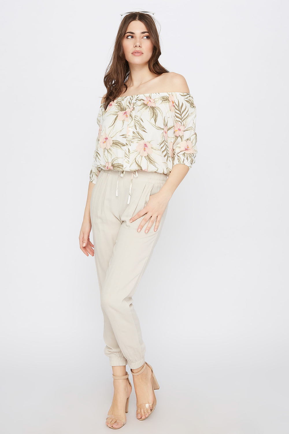 Off the Shoulder Button Drawstring Blouse White