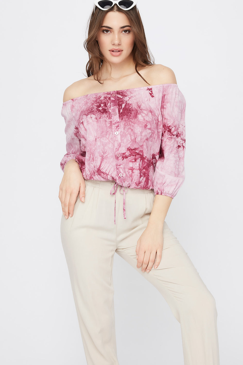 Off the Shoulder Button Drawstring Blouse Rose