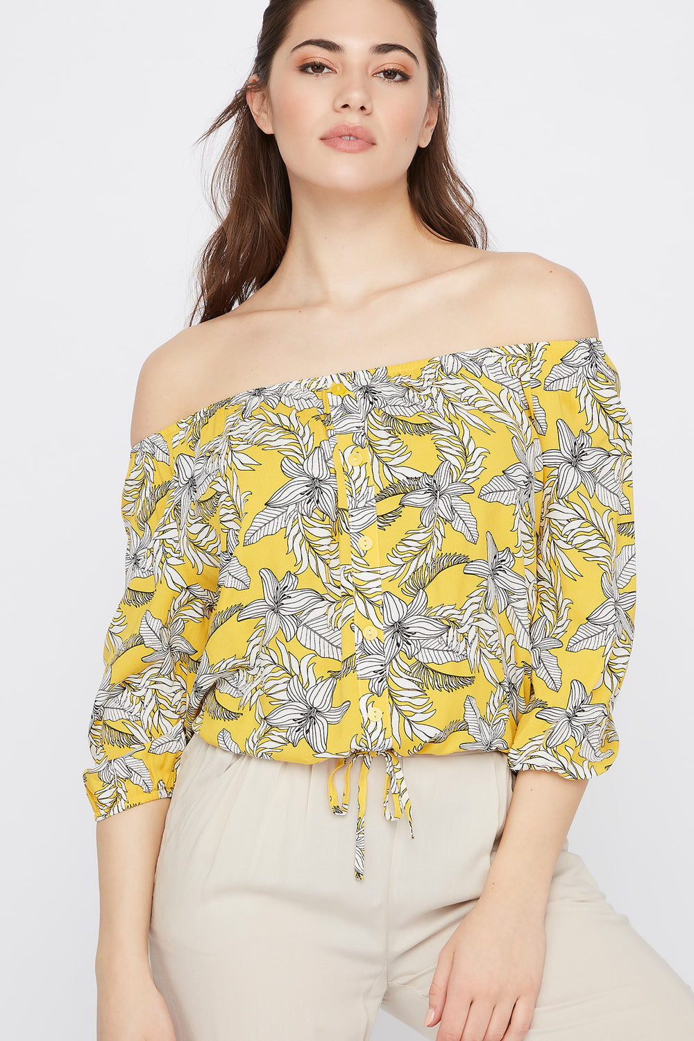 Off the Shoulder Button Drawstring Blouse Yellow