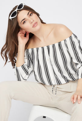 Off the Shoulder Button Drawstring Blouse