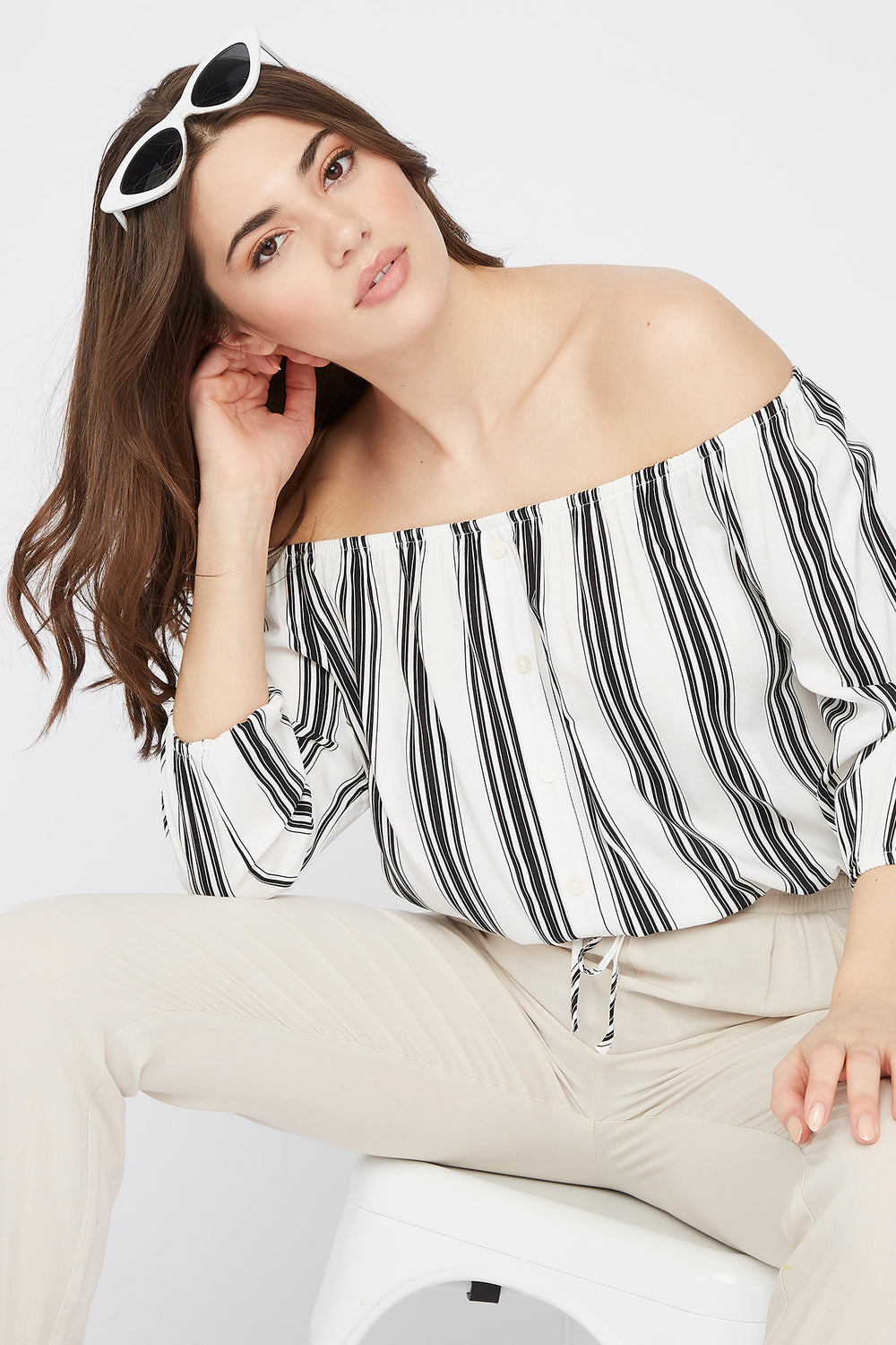 Off the Shoulder Button Drawstring Blouse Black with White