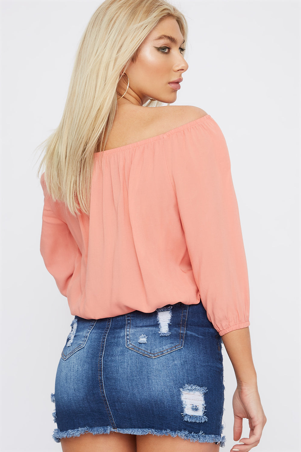 Off The Shoulder Button Detail Cinched Hem Blouse Black