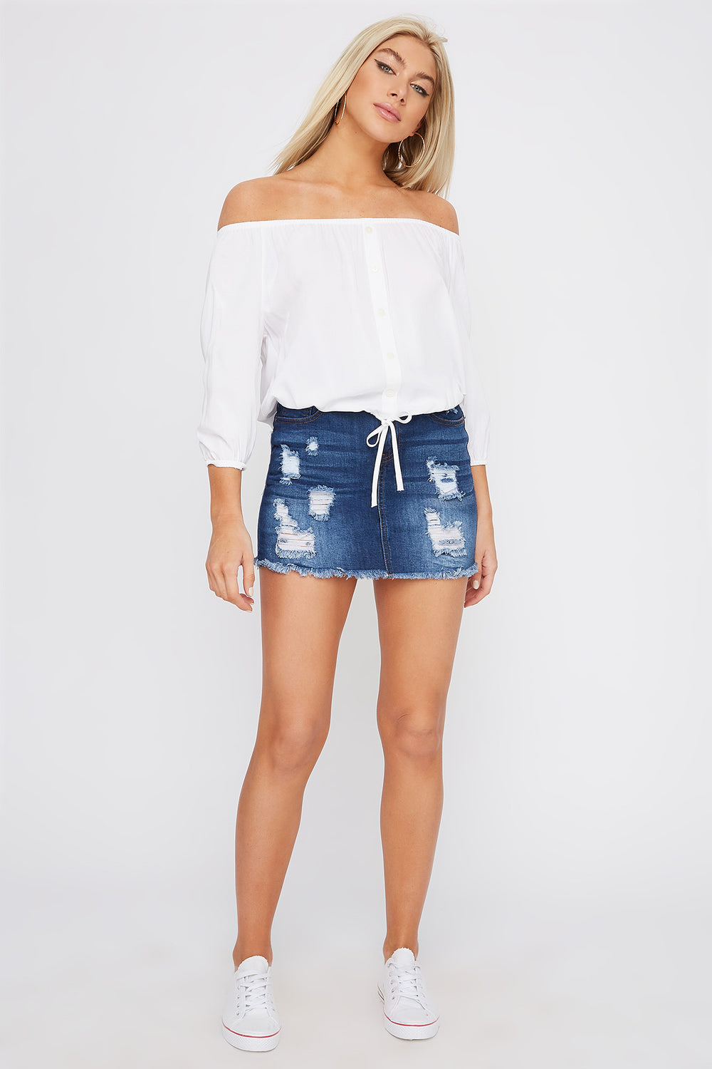 Off The Shoulder Button Detail Cinched Hem Blouse White