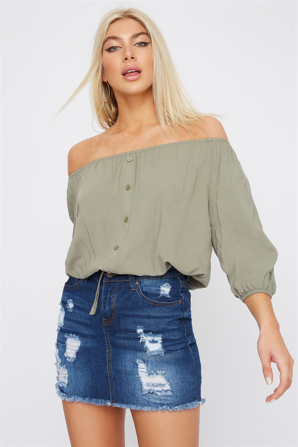 Off The Shoulder Button Detail Cinched Hem Blouse Dark Green
