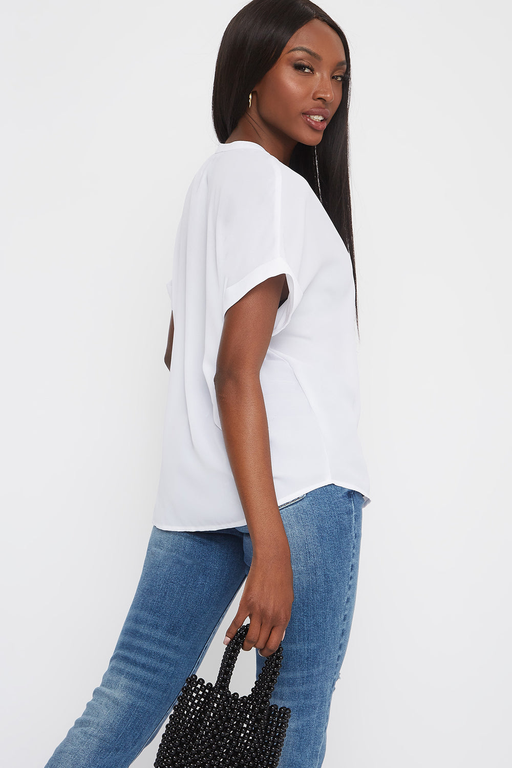 V-Neck Cuffed Short Sleeve Blouse White