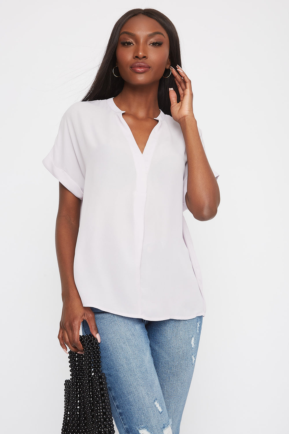 V-Neck Cuffed Short Sleeve Blouse Lilac