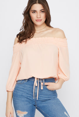 Chiffon Smocked Off The Shoulder Top