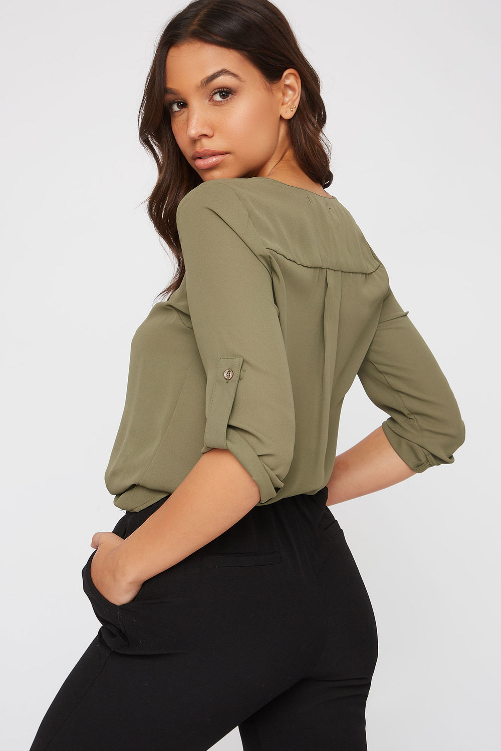 Half-Zip Roll-Tab Blouse Dark Green