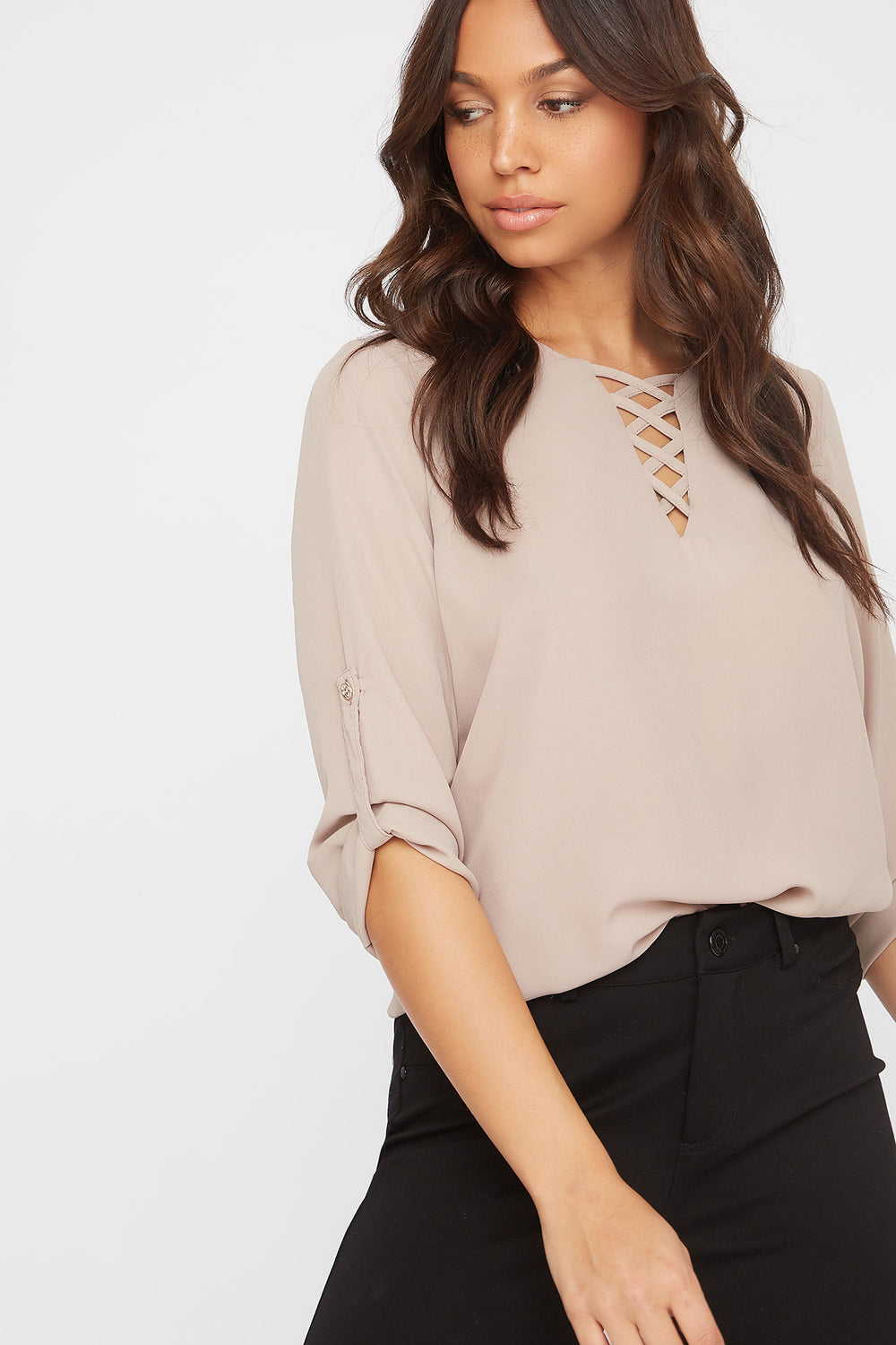 Criss Cross Roll-Tab Blouse Taupe