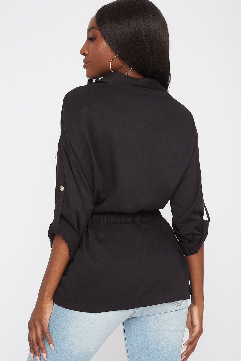 Drawstring Button-Up Roll-Tab Shirt Black