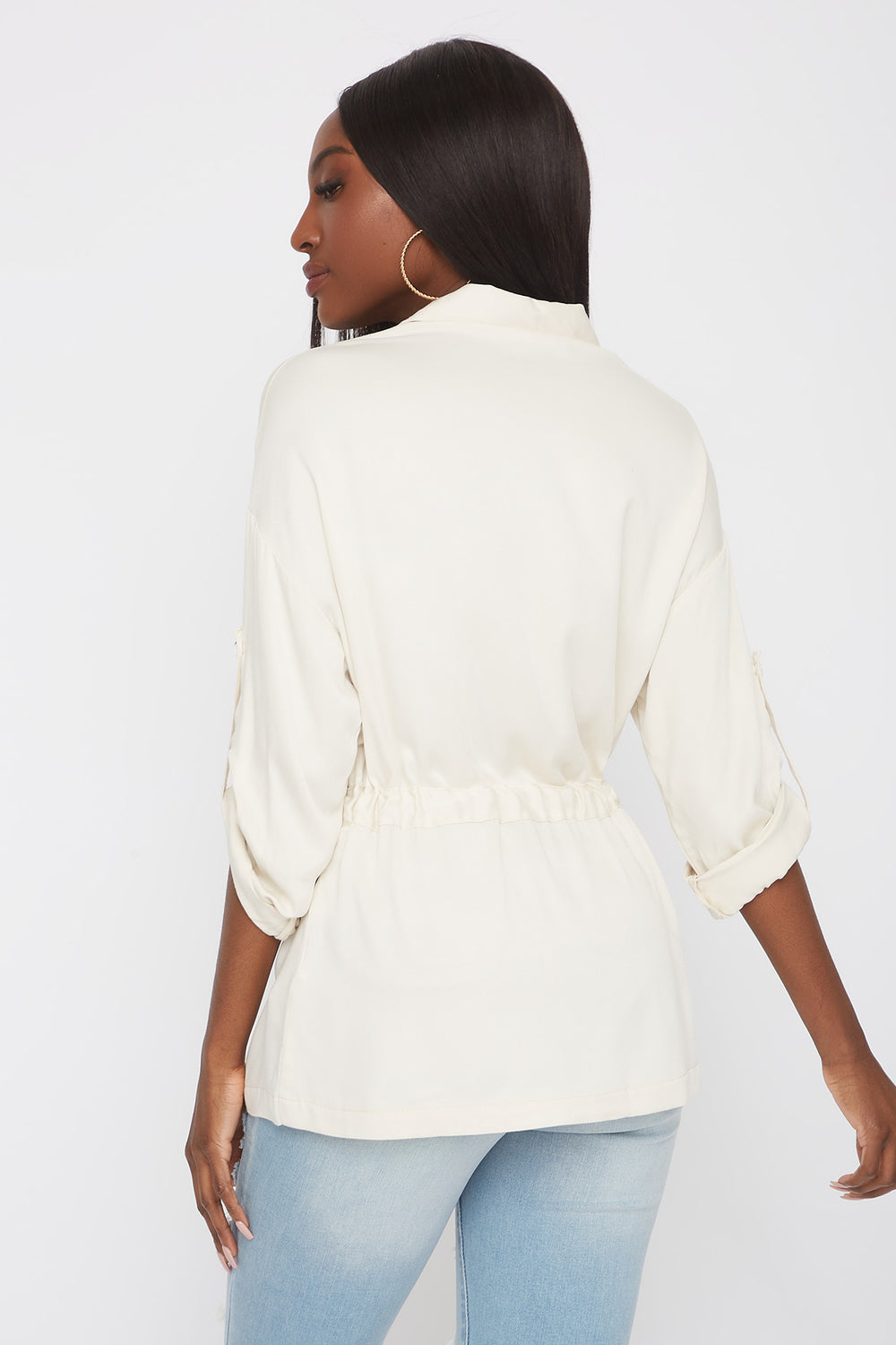 Drawstring Button-Up Roll-Tab Shirt Ivory