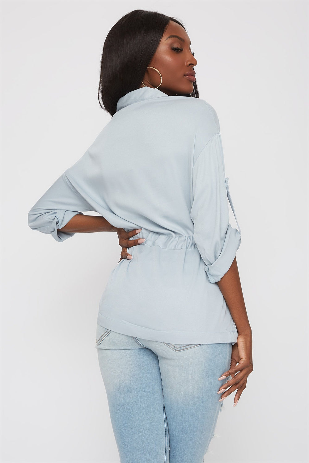 Drawstring Button-Up Roll-Tab Shirt Baby Blue