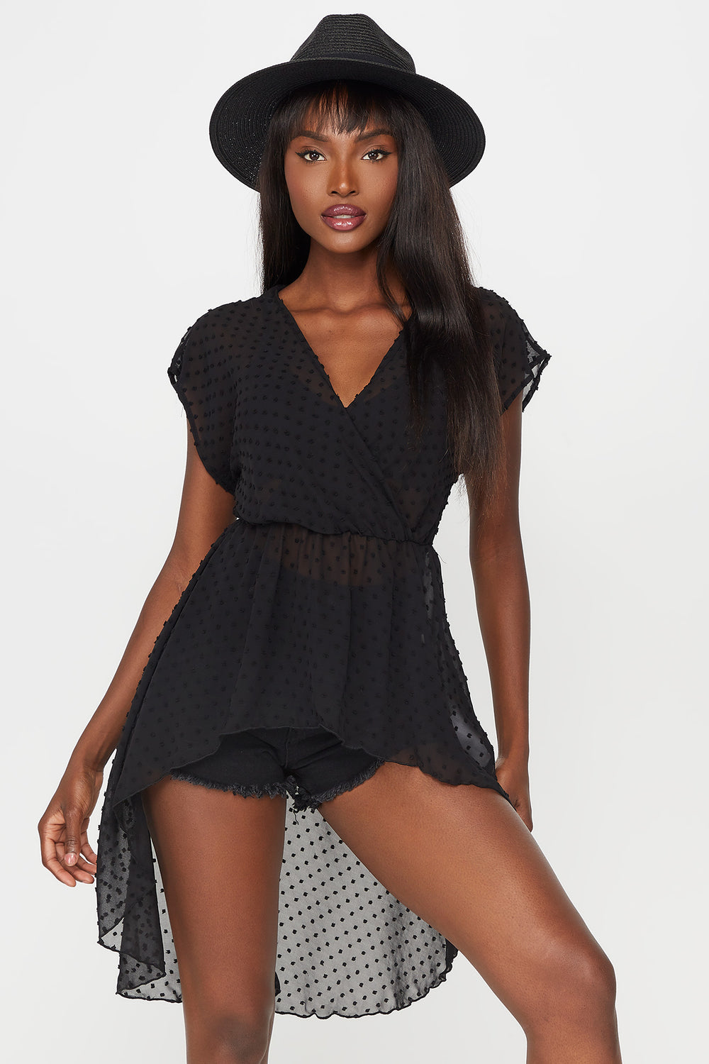 Dotted High Low V-Neck Blouse Black