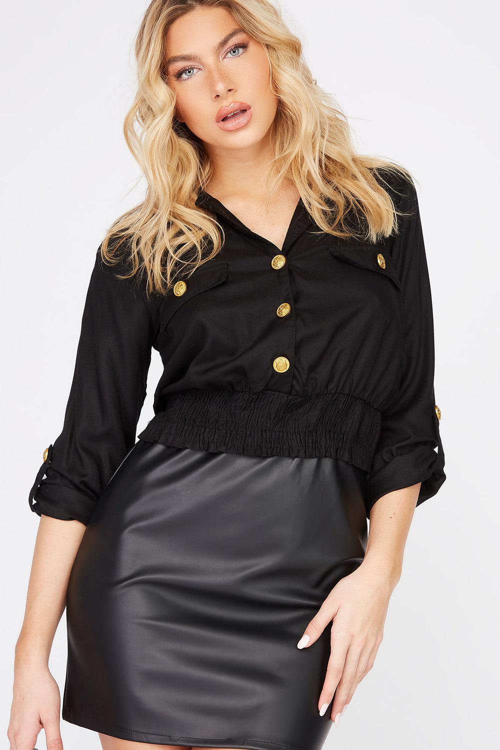 Military Button-Up Cropped Shirt Black