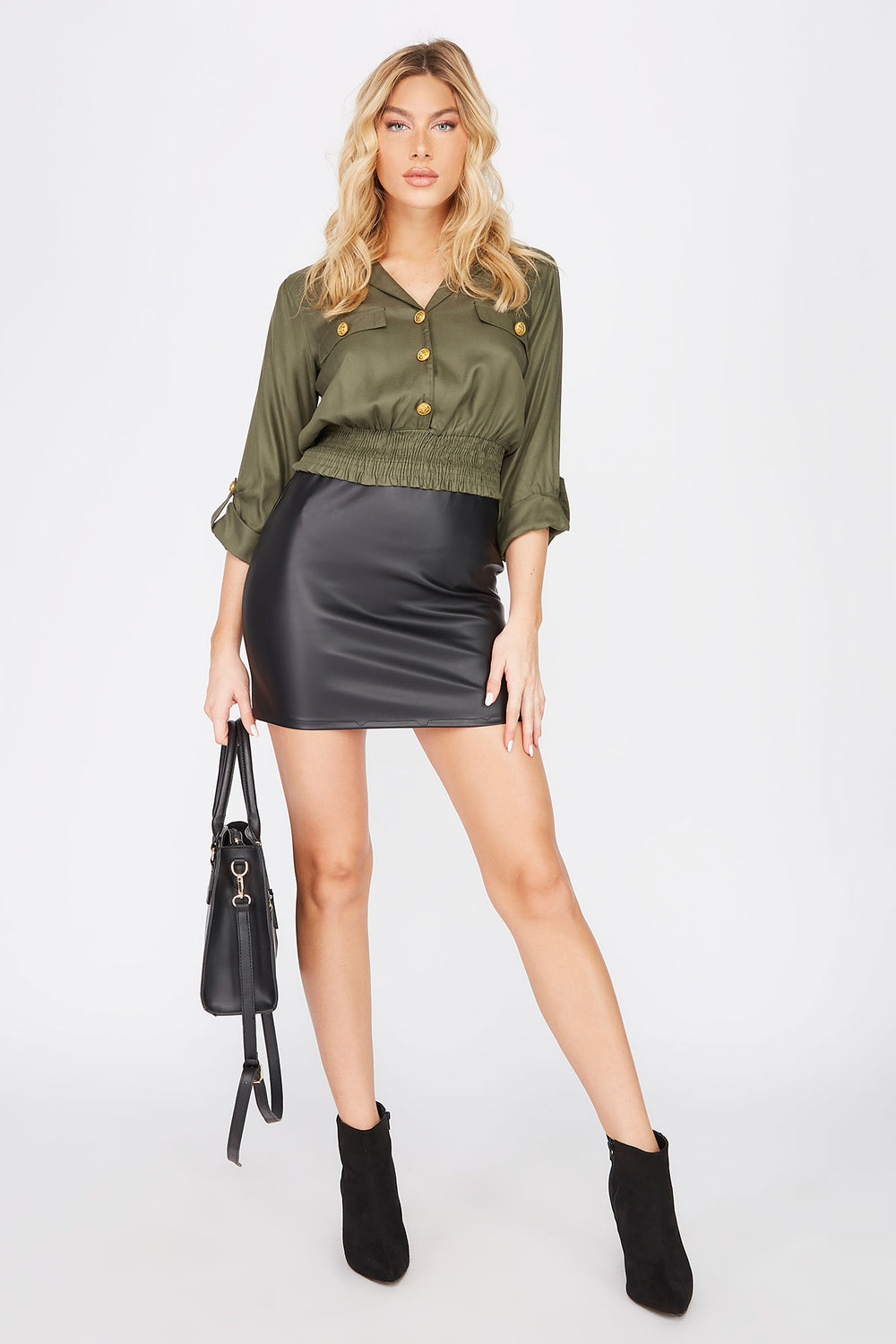 Military Button-Up Cropped Shirt Dark Green