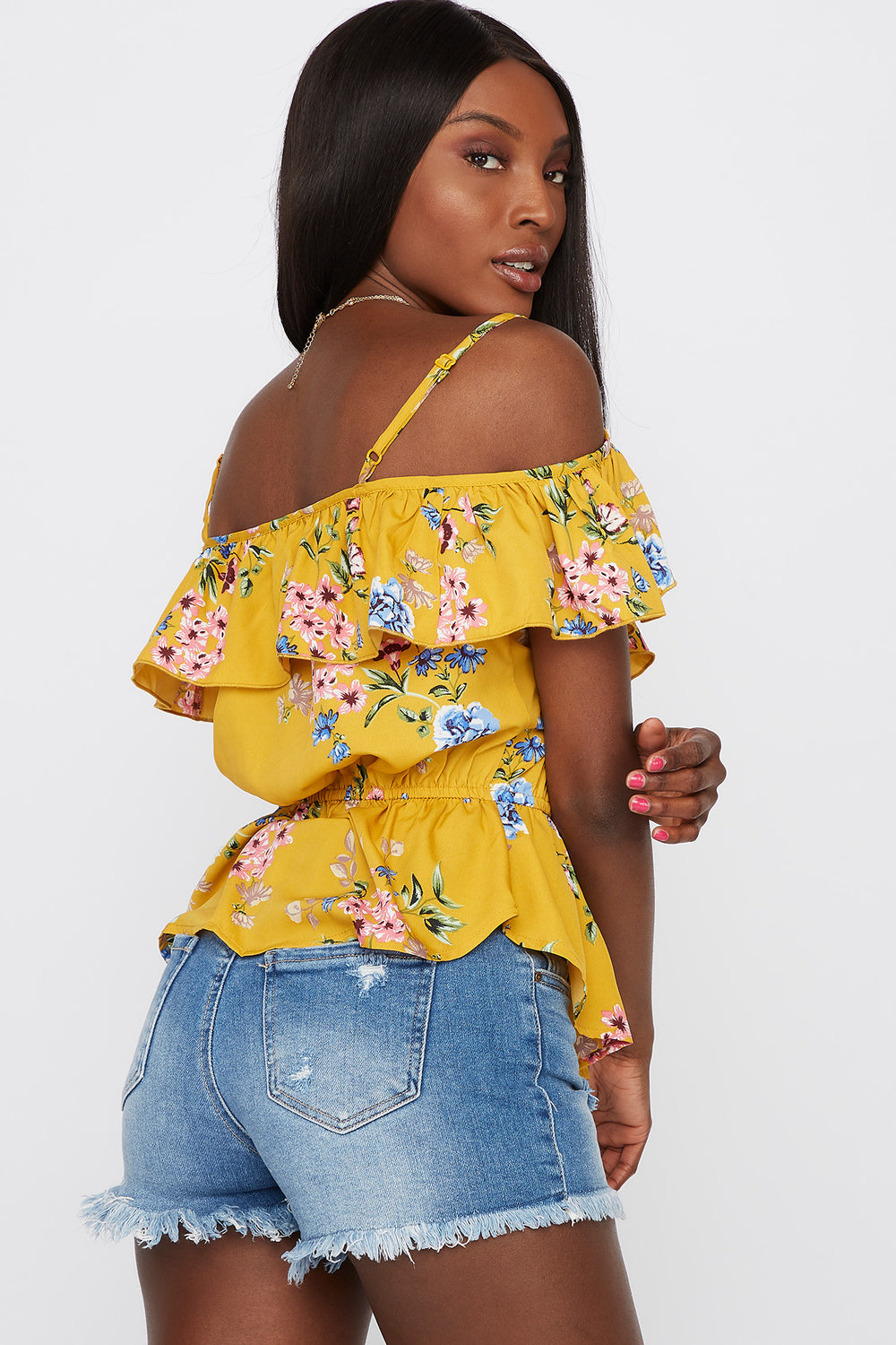 Cold Shoulder Short Sleeve Flounce Blouse Yellow
