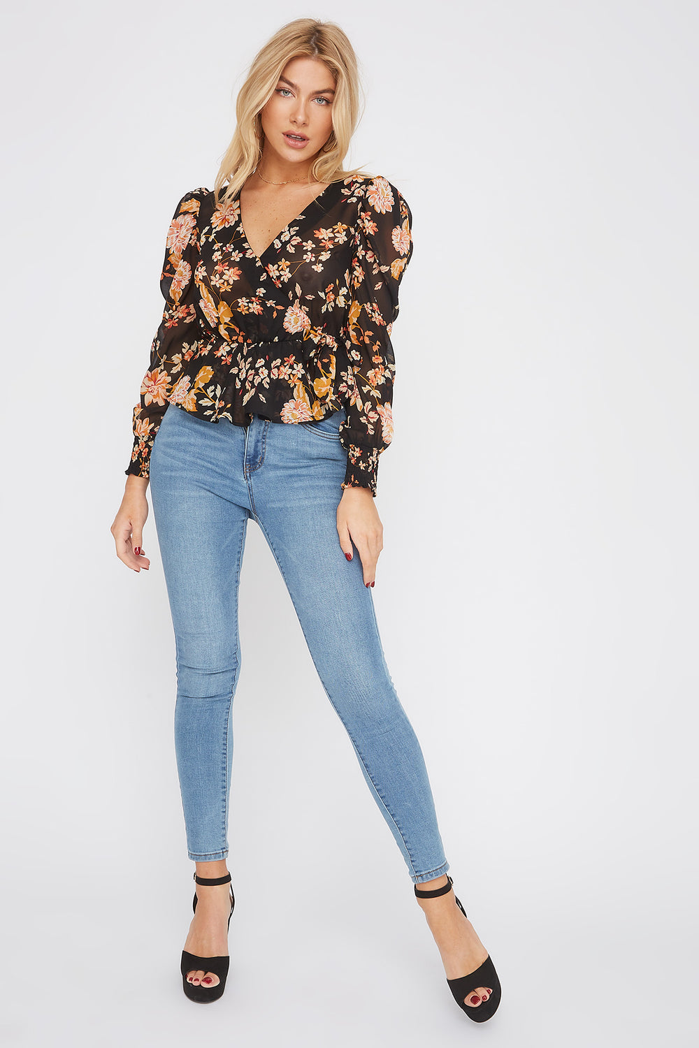 Floral V-Neck Side Tie Puff Sleeve Blouse Black