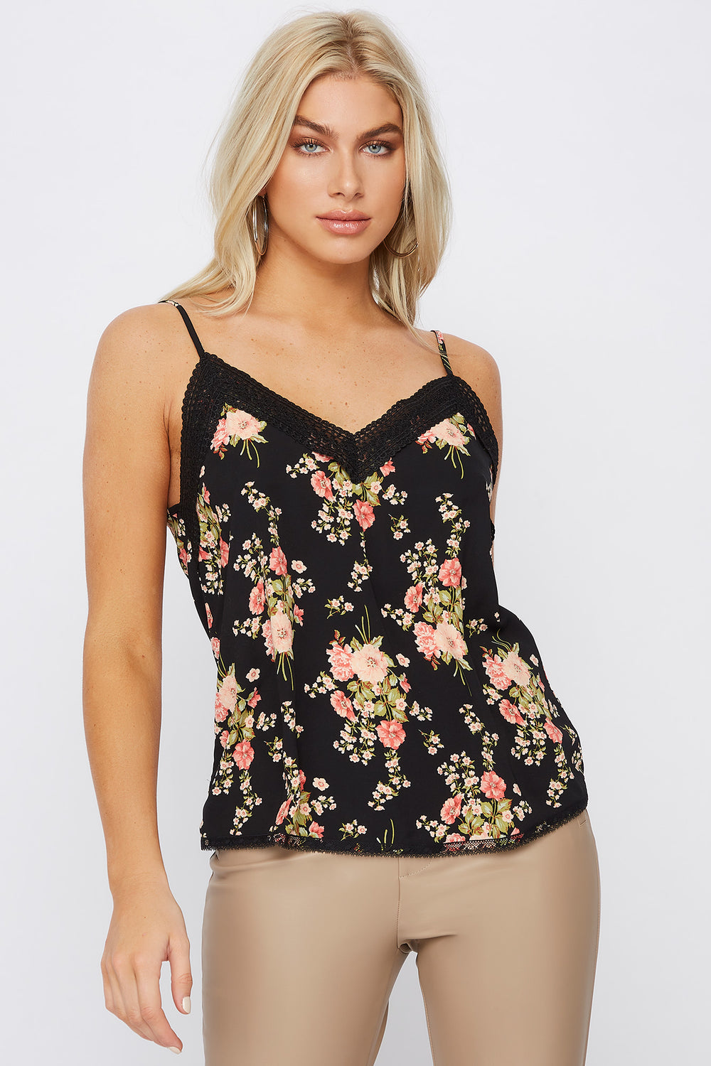 Lace Trim Printed V-Neck Camisole Black