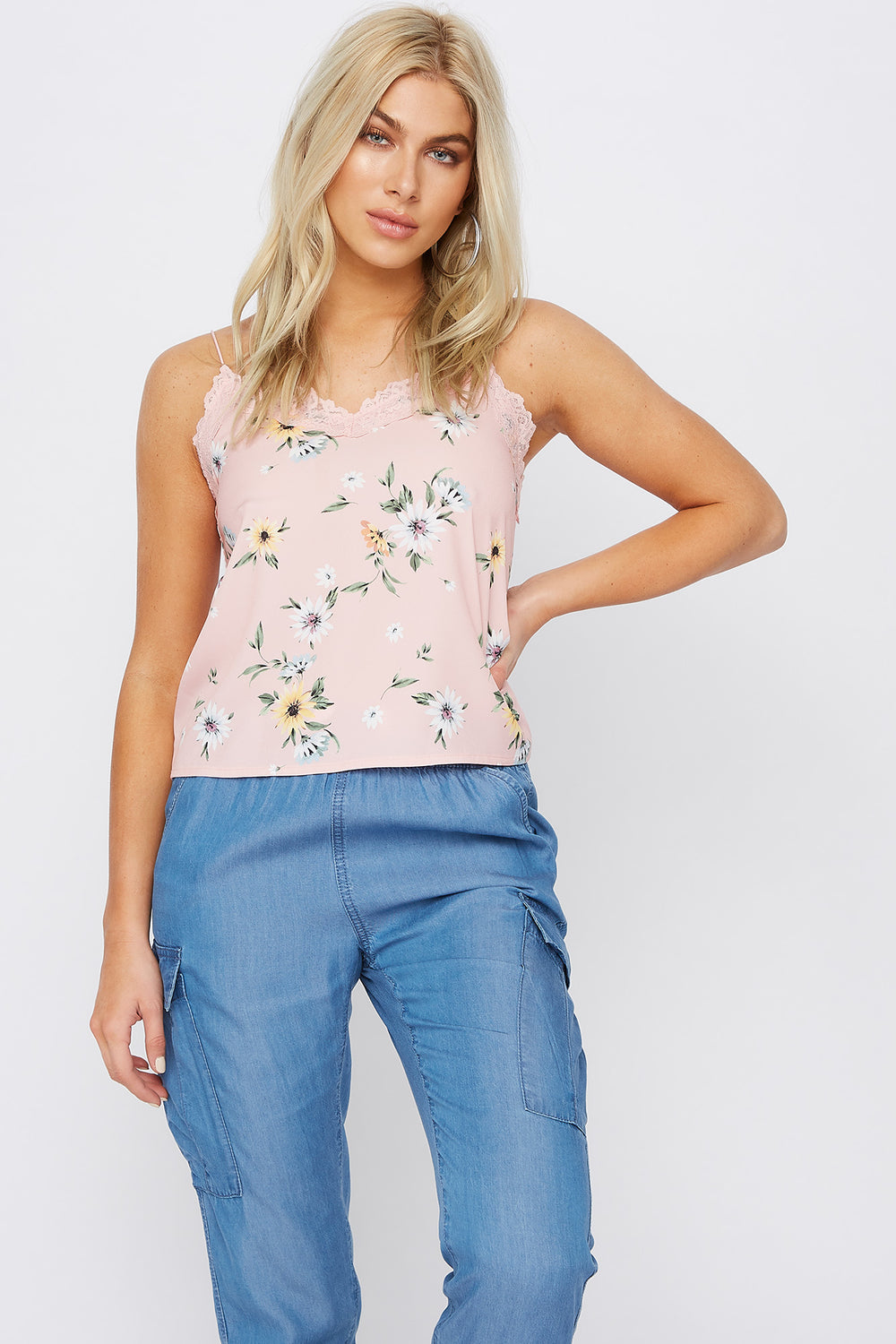 Floral Lace Trim Camisole Rose