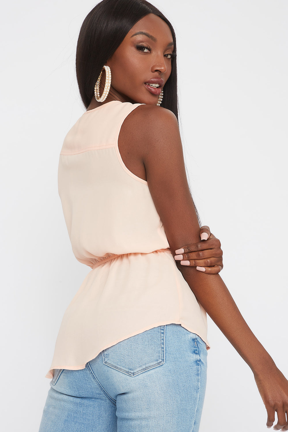 Drawstring Half-Zip Tank Peach