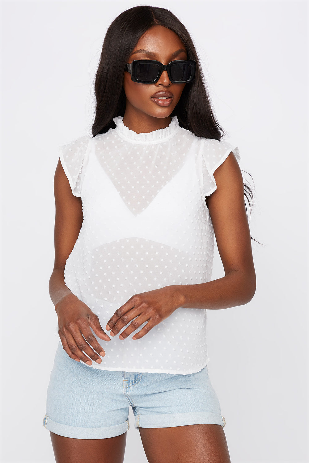 Dotted High Neck Cap Sleeve Blouse White