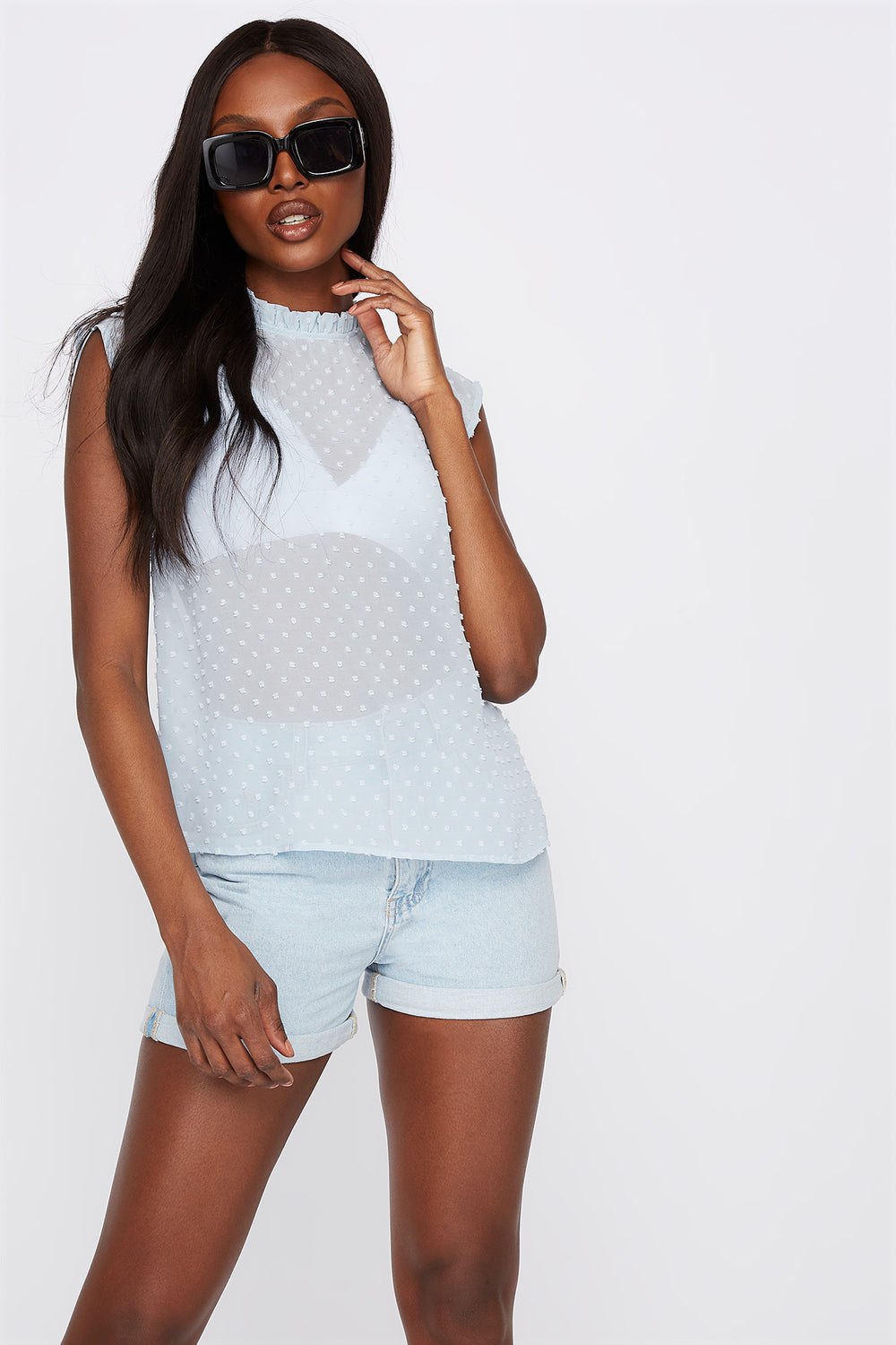 Dotted High Neck Cap Sleeve Blouse Light Blue